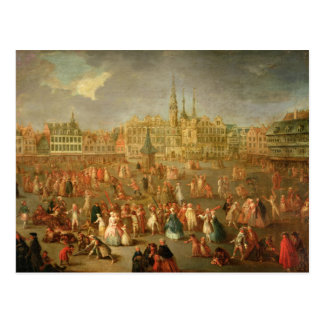 The Grand Place during Mardi Gras, Cambrai, 1765 Postcard