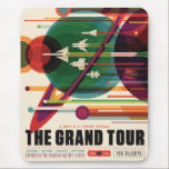 "The Grand Tour - Retro NASA Travel Poster Mousepad<br><div class=""desc"">The Grand Tour image is a continuation of the JPL's Exoplanet Travel Bureau Series.  Get set for a fantastic multi-planet tour including Jupiter,  Saturn,  Uranus,  and Neptune. Credit NASA/JPL-Caltech.</div>"