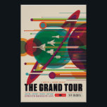 """The Grand Tour Space Travel Poster<br><div class=""""desc"""">A Once in a Lifetime Getaway Experience the charm of gravity assists. NASA&#39;s Voyager mission took advantage of a once-every-175-year alignment of the outer planets for a grand tour of the solar system. The twin spacecraft revealed details about Jupiter, Saturn, Uranus and Neptune – using each planet&#39;s gravity to send...</div>"""