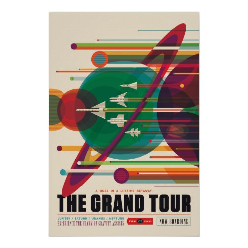 The Grand Tour Vintage Space Travel Poster