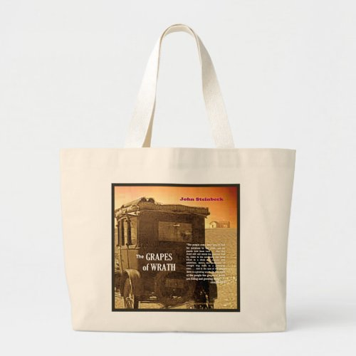 The Grapes of Wrath text Large Tote Bag