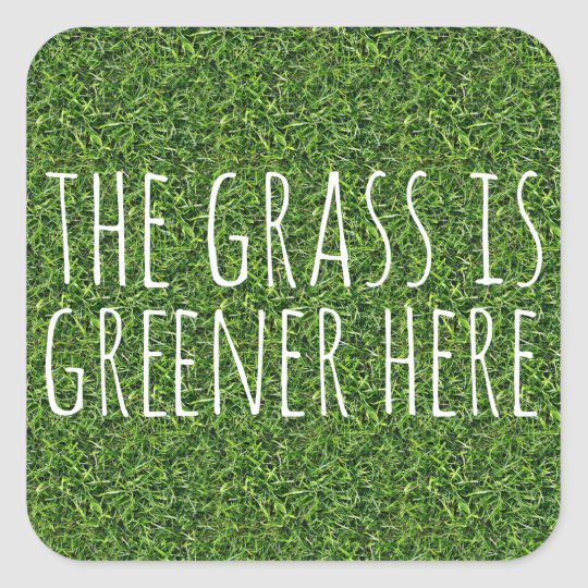 The Grass Is Greener Here Square Sticker