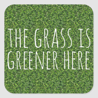 The Grass Is Greener Here Square Stickers