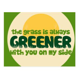The grass is greener postcard