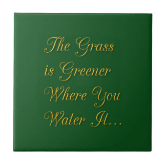 THE GRASS IS GREENER WHERE YOU WATER IT MOTIVATION TILE