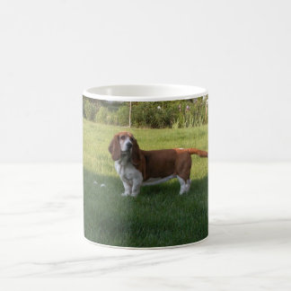 THE GRASS IS GREENER WITH A BASSET HOUND COFFEE MUG