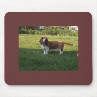 THE GRASS IS GREENER WITH A BASSET HOUND MOUSE PAD