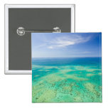 The Great Barrier Reef, aerial view of Green 2 2 Inch Square Button