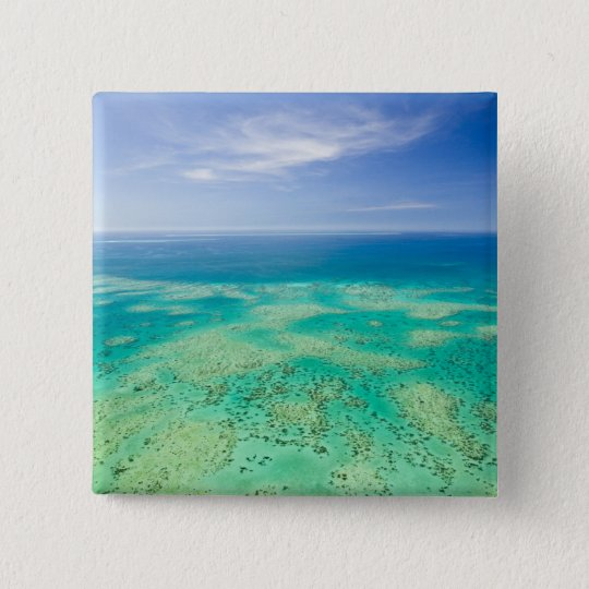 The Great Barrier Reef, aerial view of Green 2 Pinback Button