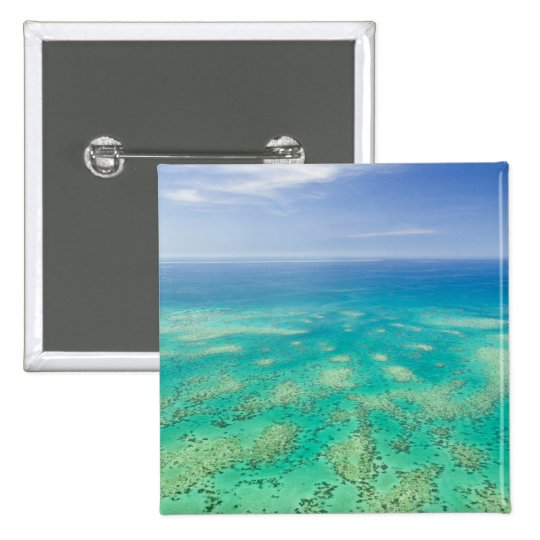 The Great Barrier Reef, aerial view of Green Pinback Button