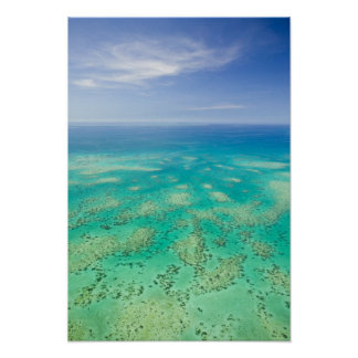 The Great Barrier Reef, aerial view of Green Poster