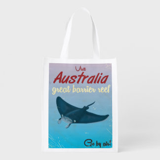 The Great Barrier Reef, Australia Travel poster Reusable Grocery Bag