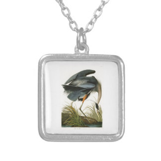 The Great Blue Heron John Audubon Birds of America Square Pendant Necklace