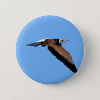 The great blue herons big stretch in the sky pinback button