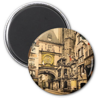 The great clock, Rouen, France vintage Photochrom Magnet