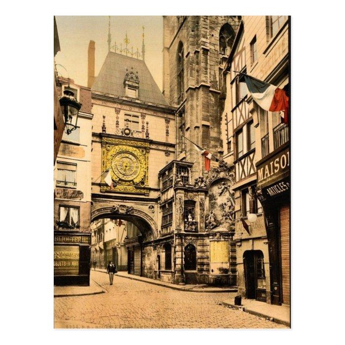 The great clock, Rouen, France vintage Photochrom Postcard
