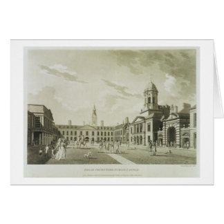 The Great Court Yard, Dublin Castle, 1792 (engravi Card