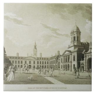 The Great Court Yard, Dublin Castle, 1792 (engravi Tile