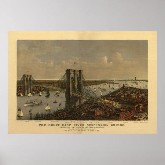 The Great East River Suspension Bridge Poster