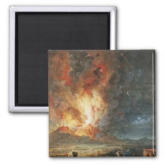 The Great Eruption of Mt. Vesuvius 2 Inch Square Magnet
