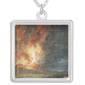 The Great Eruption of Mt. Vesuvius Silver Plated Necklace
