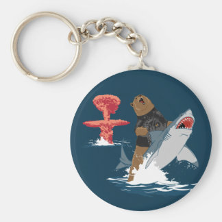 The Great Escape - bear shark cavalry Basic Round Button Keychain