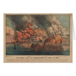 The Great Fight At Charleston 1863 Civil War Card