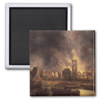 The Great Fire in the Old Town Hall, Amsterdam 2 Inch Square Magnet