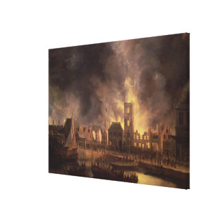The Great Fire in the Old Town Hall, Amsterdam Gallery Wrapped Canvas