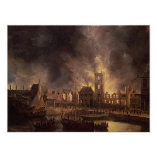 The Great Fire in the Old Town Hall, Amsterdam Poster