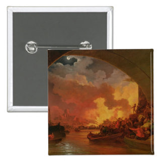 The Great Fire of London, c.1797 (oil on canvas) Button