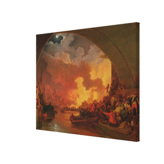 The Great Fire of London, c.1797 (oil on canvas) Canvas Print