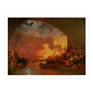 The Great Fire of London, c.1797 (oil on canvas) Postcard