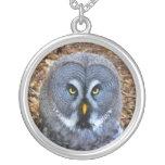 The Great Grey Owl Strix Nebulosa Lapland Owl Round Pendant Necklace