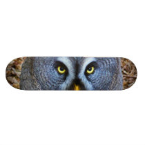 The Great Grey Owl Strix Nebulosa Lapland Owl Skateboard Deck