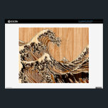"""The Great Hokusai Wave Bamboo Inlay Style Laptop Skin<br><div class=""""desc"""">A custom design inspired by the Great Wave of Kanagawa painted by ancient Japanese artist Hokusai. It is rendered as to look like an intricate Bamboo Wood inlay decor background. Sounds good, a great gift idea. Use the &quot;Ask this Designer&quot; link to contact us with your special design requests or...</div>"""