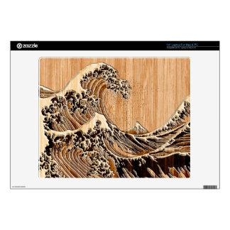 The Great Hokusai Wave Bamboo Inlay Style Laptop Skin