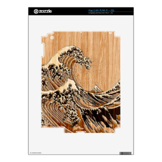 The Great Hokusai Wave Bamboo Wood Grain Style Decal For The iPad 2