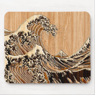 The Great Hokusai Wave Bamboo Wood Grain Style Mouse Pad