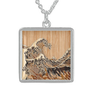 The Great Hokusai Wave Bamboo Wood Grain Style Sterling Silver Necklace