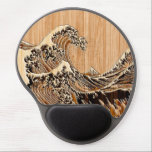 "The Great Hokusai Wave Bamboo Wood Style Accent Gel Mouse Pad<br><div class=""desc"">A custom design inspired by the Great Wave of Kanagawa painted by ancient Japanese artist Hokusai. It is rendered as to look like an intricate Bamboo Wood inlay decor background. Sounds good, a great gift idea. Use the &quot;Ask this Designer&quot; link to contact us with your special design requests or...</div>"