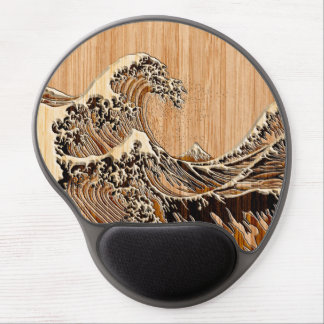 The Great Hokusai Wave Bamboo Wood Style Accent Gel Mouse Pad