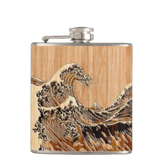 The Great Hokusai Wave Bamboo Wood Style Accent Hip Flask