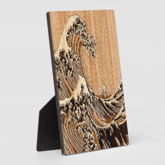 The Great Hokusai Wave Bamboo Wood Style Accent Plaque