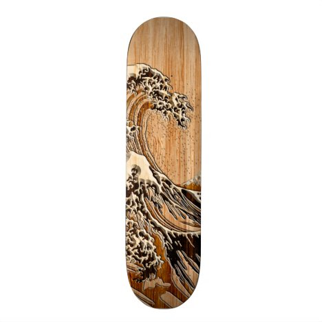 The Great Hokusai Wave Bamboo Wood Style Accent Skateboard