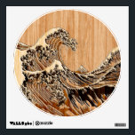 """The Great Hokusai Wave Bamboo Wood Style Accent Wall Decal<br><div class=""""desc"""">A custom design inspired by the Great Wave of Kanagawa painted by ancient Japanese artist Hokusai. It is rendered as to look like an intricate Bamboo Wood inlay decor background. Sounds good, a great gift idea. Use the &quot;Ask this Designer&quot; link to contact us with your special design requests or...</div>"""