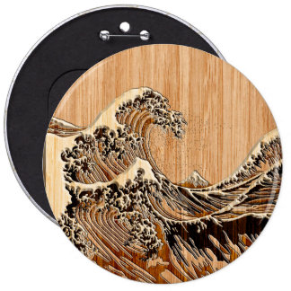 The Great Hokusai Wave Bamboo Wood Style Button