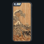 """The Great Hokusai Wave Bamboo Wood Style Carved Maple iPhone 6 Bumper Case<br><div class=""""desc"""">A custom design inspired by the Great Wave of Kanagawa painted by ancient Japanese artist Hokusai. It is rendered as to look like a Bamboo Wood inlay background. Sounds good, a great gift idea. Use the &quot;Ask this Designer&quot; link to contact us with your special design requests or for some...</div>"""