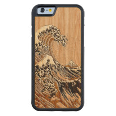 The Great Hokusai Wave Bamboo Wood Style Carved® Maple Iphone 6 Bumper Case at Zazzle