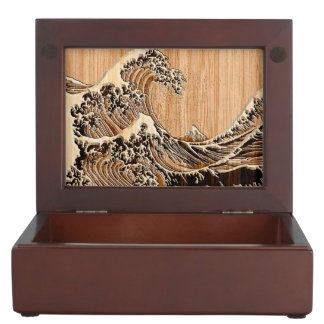 The Great Hokusai Wave Bamboo Wood Style decor Keepsake Box